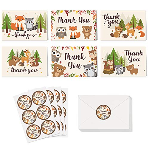 Woodland Animals Thank You Cards with Envelopes & Stickers Forest Creatures Baby Shower Folded Thank You Cards Woodland Stationery Forest Wild Animals Appreciation Notecards Birthday Favors