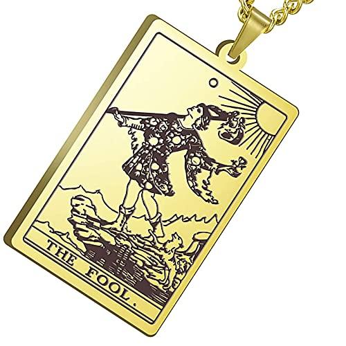 Pendentif De Collier De Carte De Tarot - Vintage Rider Waite Carte De Tarot Amulette en Acier Inoxydable pour Femmes Hommes Adolescents Cadeaux,d'or