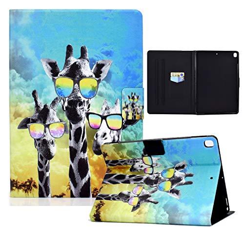 zl one Compatible con/reemplazo para Tablet PC iPad 10.2 8.ª generación 2020/7.ª generación 2019, iPad Air 3/iPad Pro 10.5 PU cuero Flip Cover Stand Wallet Case (gafas jirafa)