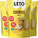 Coconut Macaroon Cookies with MCTs - Keto Cookies Vanilla Smart Sweets, Low Carb Keto Snack Bites, Paleo Atkins diet friendly treats, Vegan Low Sugar Gluten free Dessert by Keto Naturals