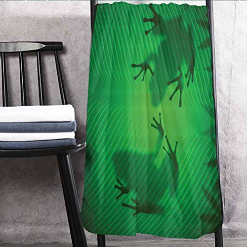 Animal Decor Christmas Towels Extra Large with Bright Colors Frog Shadow Silhouette on The Banana Tree Leaf in Tropical Lands Jungle Light Games Graphic Green 27' W x 54' L