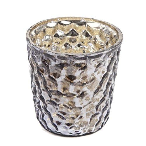 Insideretail - Portacandele in vetro mercurio, con bolle di metallo invecchiato, 7 cm, 48 pezzi, colore: Carbone, 7 x 5 x 7 cm