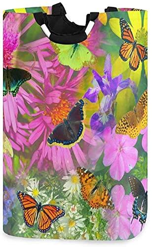 AAAshorts Cesta de lavandería grande para la compra, plegable, de tela, plegable, cesto de lavandería, cesto de lavado plegable de mariposa y collar de flores
