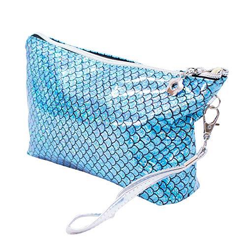 Necessaire Azul Escamas Sereia 22x13x7cm