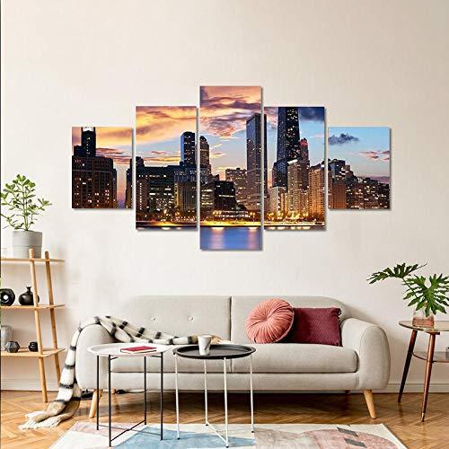 BDFDF Lienzo 5 Piezas Cuadro Lienzo No Tejido Horizonte De Chicago Al Atardecer 5 Carteles Pintura Mural Modernos Hogar Decoracion Artes 150X80Cm