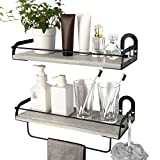 Ophanie Floating Shelves Wall Mounted Set of 2, Rustic Wood Wall Storage Shelves Organizer for Kitchen,...