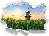 schöne Windmühle auf dem Feld, Papier 3D-Wandsticker Format: 62x45 cm Wanddekoration 3D-Wandaufkleber Wandtattoo