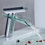 Auralum - Grifo de lavabo para agua fría y caliente, diseño elegante, grifo monomando para baño y cocina