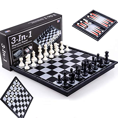 ZCQS 9.8 x9.8 Inches 3 in 1 Magnetic Travel Chess Set Checkers Toys Gift Chess Boards Game Set Backgammon Set with Folding Chess Board Educational Toys for Kids and Adults