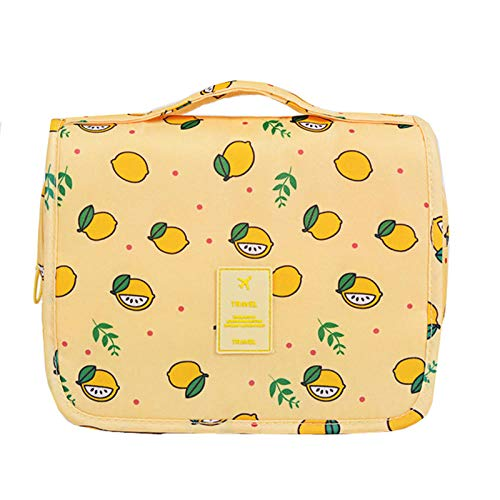 Bolsas de Viaje Artículos Productos de Lavado Almacenamiento Portátil Mujeres Hombres Cuarto de baño Colgante Bolsas de Lavado de Almacenamiento cosmético Organizador Bolsa-Limón Amarillo