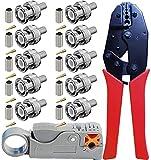 RG58 cavo di utensili a crimpare - Kagni BNC Pinza a crimpare rullata e spelafili a cavo coassiale rotante con 10pcs BNC maschio connettori per RG58