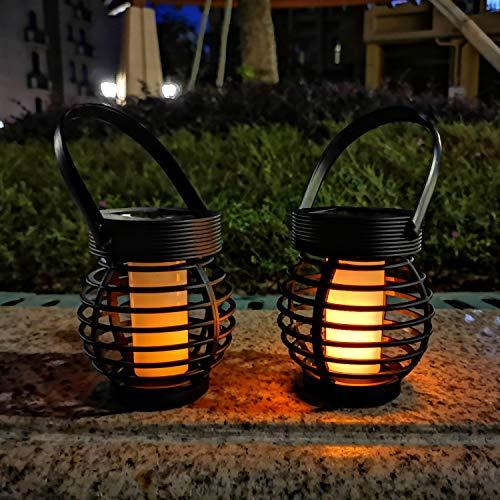 Hallo Home® 2 PCS LED Solar Laterne Rattan Windlicht Braun Marmoriert Kunststoff Kugel Rund lGartenleuchte für Draußen [Energieklasse A++]