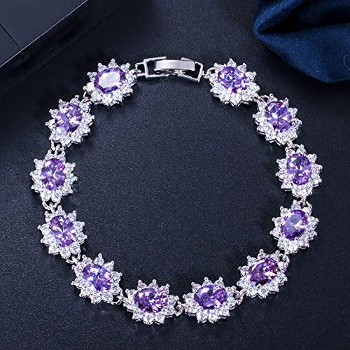 Bracelet For Women Beautiful Russian Design White Gold Color Big Red Cz Crystal Rhinestone Flower Charm Bracelets Bangle For Women Purple