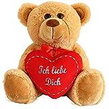 matches21 Teddybär mit Herz / Herzteddy ** Ich Liebe Dich ** Hellbraun / beige 25 cm - Die Geschenkidee! DAS ORIGINAL