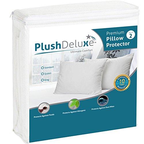 Standard Premium Hypoallergenic 100% Waterproof Pillow Protector (set of 2) - 10 Year Warranty - Vinyl Free