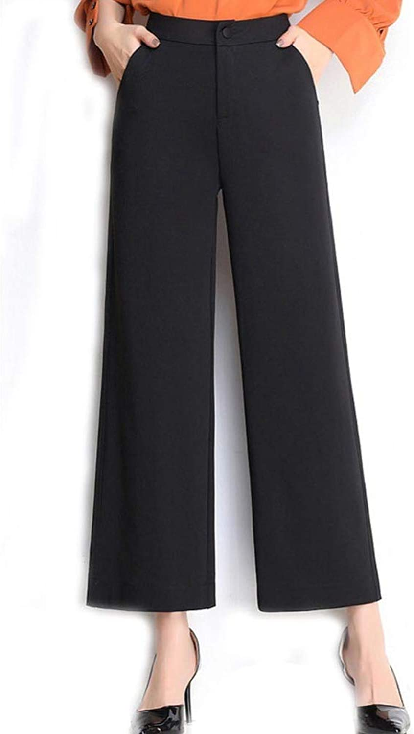 HOQTUM Wide Leg Pants Spring and Summer high Waist Loose Nine Pants Women's Casual Pants Large Size Fashion Pants