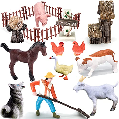 Farmer and Farm Animal Statues (with Fence)  Fairy Garden Decorations Mini Realistic Plastic Farm Animal Toys  Learning And Educational Toy Set  Party Favorite Bath Toys  Toddler Toys  Cake Mat(22PCS)