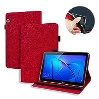 カーフレザー型押しレザーケースHuawei 10.1インチ MediaPad T5 10ケース タブレットカバーHuawei MediaPad T5 10 ags2-w09 対応フリップ 太陽の花柄 スタンドシェルカバー (Huawei MediaPad T5 10 色: ブルー, 赤い色)