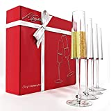 Champagne Flutes Set of 4 for any Occasion, 6 oz Crystal Champagne Glasses, Dishwasher Safe 100%...