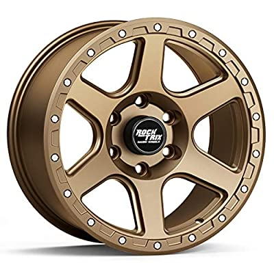 """RockTrix RT112 17 inch Wheel Compatible with 01-21 Toyota Tacoma 6x5.5"""" (6x139.7) Bolt Pattern, 17x9 (-12mm Offset), 106.1mm Bore, Matte Bronze, Also fits 02-21 4Runner, FJ Cruiser, 99-06 Tundra - 1pc"""