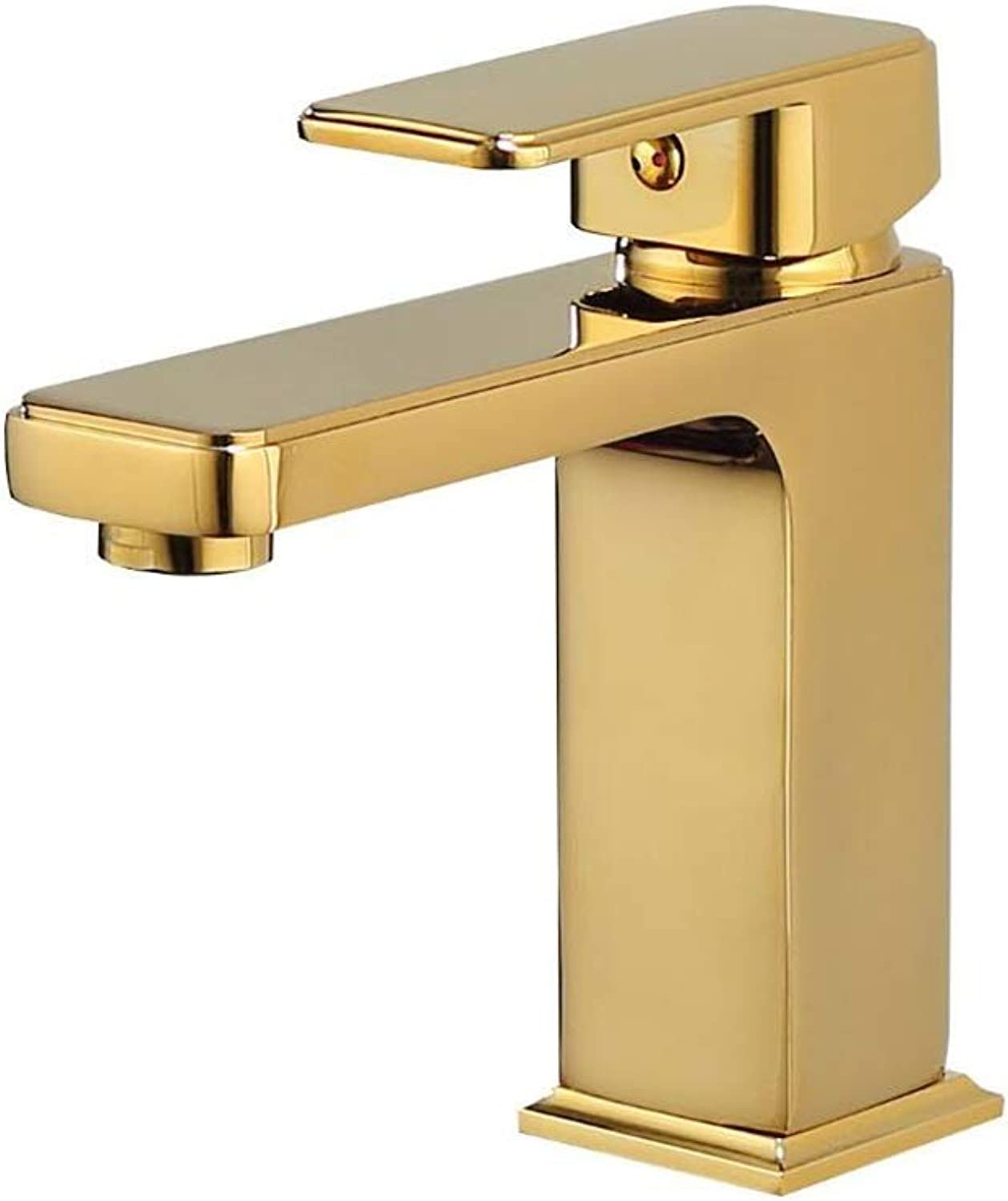 MuMa Faucet gold Brass Single Hole Hot Cold Mixer Kitchen Bathroom Sink (color   gold)