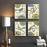 Lienzo Cuadro de arte de pared American Vintage Estilo de acuarela Flores y pájaros en árbol Pintura Art Print Poster Decoración para el hogar 60x80cm (23.6x31.5in) x4 Sin marco