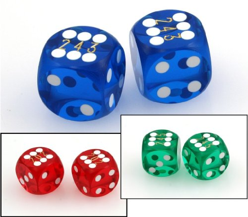 Ludomax Präzisionswürfel, 9/16 (ca. 14,3mm), Backgammon / Casino Würfel, 2 Stück mit Seriennummern, Farbe:grün