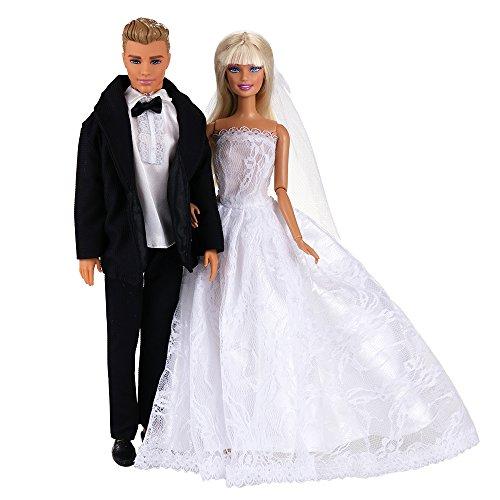 Miunana 2 PCS Tute per Matrimonio: Abito Nero per Bambola Ragazzo Sposo + Abito da Sposa per Bambola Ragazza Sposa