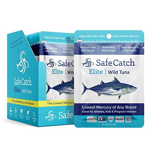 Safe Catch Elite Lowest Mercury Wild-Caught Tuna Fish Pouch, Gluten-Free, Paleo, Keto, Kosher, Non-GMO, High-Protein Food, 3oz Packet, Pack of 12