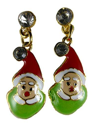 Ohrringe Ohrstecker Stecker Heilig Abend Weihnachtsmann Wichtel grün Gartenzwerg Straß 4654
