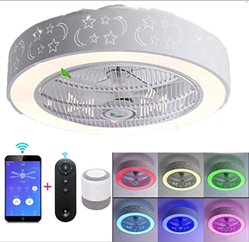 Bluetooth Deckenleuchte LED 84W / 58Cm RGB Deckenlampe mit APP-Steuerung, LED Deckenventilator mit Beleuchtung Super Leise Ventilator mit Licht,kompatibel mit Amazon Alexa,3