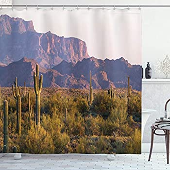 Ambesonne Saguaro Shower Curtain Arizona Desert Landscape with Cactus Mountain in Spring Evening Wilderness Picture Cloth Fabric Bathroom Decor Set with Hooks 75  Long Brown Green