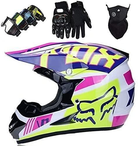 AZBYC Casco Motocross Niño Homologado Casco Moto Integral Unisex para Moto Cross Descenso Enduro MTB Quad BMX Bicicleta (Gafas+Máscara+Guantes) con Diseño Fox - Rosa Blanco,S