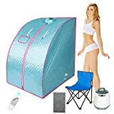 Fitnet Portable Steam Sauna Spa 2.5L Steam Generator Home Personal Therapeutic Sauna Tent One Person Relaxation Sauna with Remote Control, Foldable Chair, 1000W, Blue