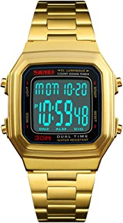 Unisex Retro Digital Watches Multifunctional Stopwatch Countdown Alarm Backlight Waterproof Watch