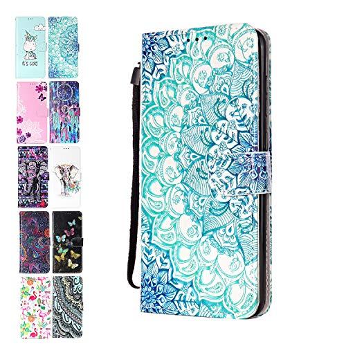 Ancase Lederhülle kompatibel für Motorola Moto G7 Play Hülle Mandala Muster Handyhülle Flip Hülle Cover Schutzhülle mit Kartenfach Leder Tasche für Mädchen Damen