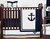 Anchors Away Nautical Navy and White Boys Baby Bedding 11 Piece Crib Set