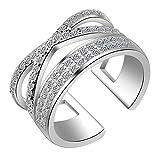 Cosanter Moda Arco en Forma de Diamante Anillo Abierto Elegante Cristal Anillos Ajustables joyería de la Boda para Las Mujeres