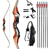 TOPARCHERY 58'' Archery Recurve Bow and Arrow Takedown Bow Set for Adults Right Hand Hunting Longbow 35-55 lbs with 6X Carbon Arrows Quiver (45)