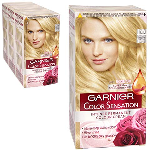 3 x Garnier Color Sensation Intense Permanente Farbe Creme 9.0 Luminous sehr hellblond