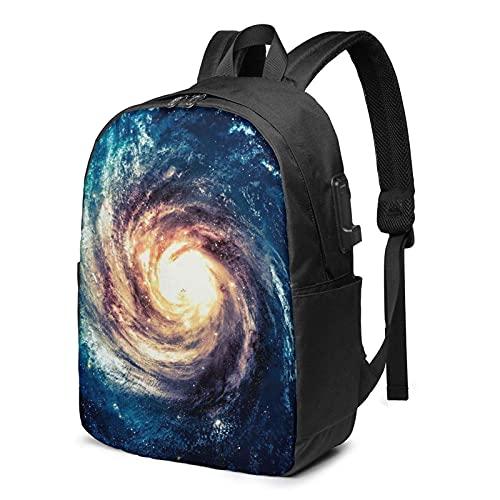 XCNGG Mochila de Viaje Spiral Galaxy Business Laptop School Bookbag con Puerto de Carga USB y Puerto para Auriculares de 17 Pulgadas