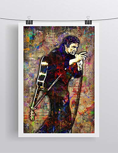 Mahumi Johnny Cash Poster, Johnny Cash Portrait Gift, Johnny Cash Tribute Fine Art | Poster No Frame Board for Office Decor, Best Gift for Family and Your Friends 1117 Inch