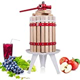 Costzon Fruit and Wine Press, 1.6 Gallon /6 Liter Solid Wood Basket, Cider Apple Grape Crusher Juice Maker for Kitchen, Energy-Saving, Easy to Assembly and Carrying (22)
