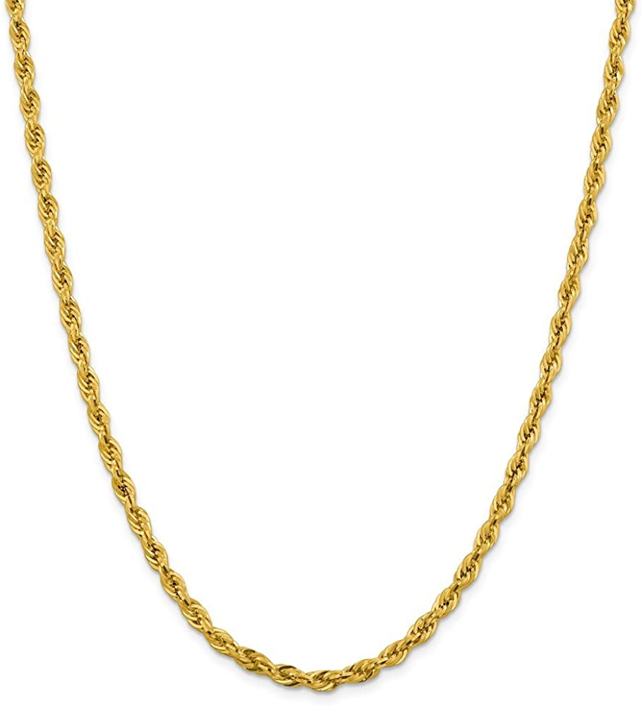 14k Yellow Gold 4.25mm Rope Chain Necklace - with Secure Lobster Lock Clasp