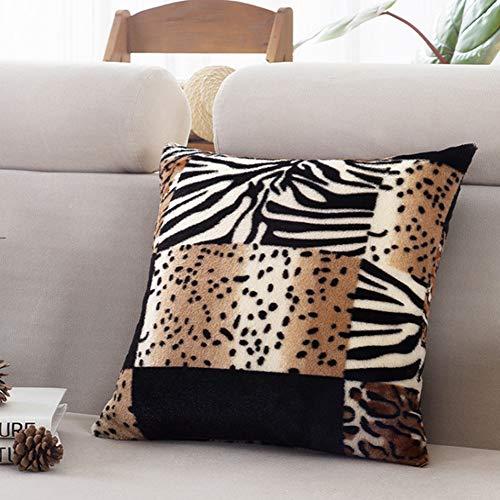 Funda de Almohada de Funda de Almohada de paño Grueso y Suave Super Suave para el sofá en casa Decoración de automóvil Leopardo Cuadrado