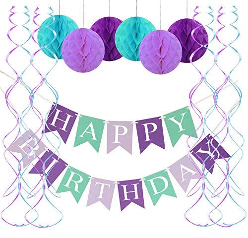 FECEDY Mermaid Happy Birthday Banner Hang Honeycomb Ball Swirls Streamers for Birthday Party Decorations
