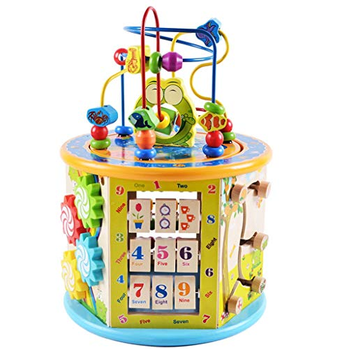 Wenjuan 8 in 1 Multifunction Activity Cube Wooden Activity Center Bead Maze, Preschool Activity Table Learning Educational Wire Toy Shape Sorter, Birthday Gifts for 3 4 5+ Years Boy Girl Toddler