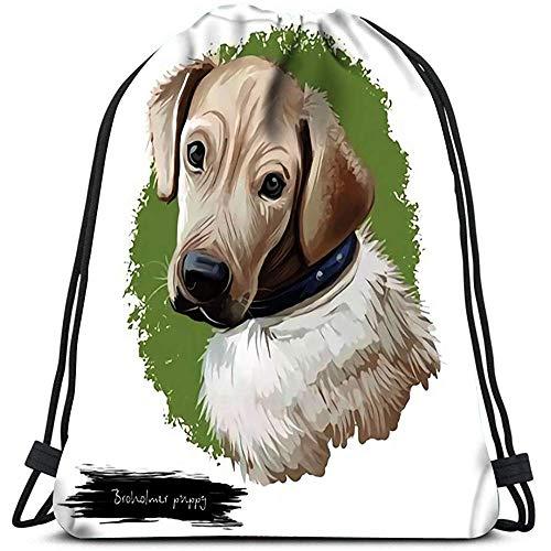 AllenPrint Coulisse Borsa,Broholmer Puppy Breed Portrait of Mastino Tipo Cane con Testa Larga Rettangolare Borse da Spalla Portatili Unisex di Razza Danese per Ragazzi Scuola Campeggio