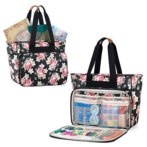 Yarwo Scrapbook Tote Bag, Craft Carrying Case with Multiple Pockets for Crafts Tools Like Album, Glue, Paper, Tape, Scissors, Black Peony
