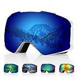 DISUPPO Gafas de Esquí, Gafas de Esquí con Lente Dual Antiempañante Hiperboloide, Protección 100% UV400, Gafas de Snowboard Antideslumbrantes a Prueba de Viento y Resistentes al Impacto para Hombres